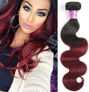 Ombre Body Wave Human Hair 1 Bundle 16 Inch Virgin Brazilian Body Wave Hair Bundles Black to Red 1B/99J Burgundy Human Hair Weaves (16