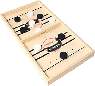 WUQIAO 2 in 1 Table Ice Hockey Game, Fun Puzzle Decompression Children's Toys, Two-Player Catapult Parent-Child Interactiv...