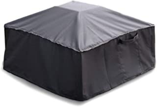 Sturdy Covers Square Fire Pit Cover - Waterproof, Weatherproof, and Durable for Year-Long Protection - Leg Straps, Drawstring Cord, and Padded Handles for Secure Coverage - Small