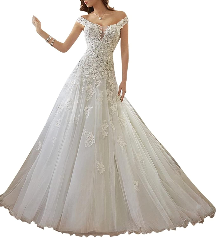 XYHDTQ Women's Lace Court Train Princess Wedding Dress Vintage Style Bridal Gown