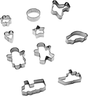 Kids DIY Cookie Cutters Set 10 PCS Stainless Steel Biscuit Cutters Mold For Baking Mini Star Circle Heart Mould For Food P...