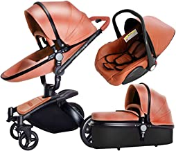 Luxury Baby Stroller 3 in 1 with Separate carrycot Gold Frame 360 Degrees Rotation High Baby Carriage Landscape Stroller for Newborn ({Type=String, Value=Brown})