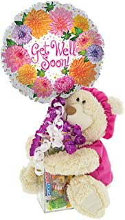 Get Well Soon Gift with Teddy Bear in Pink Scrubs | Post-Surgery or Hospital Gift with Kosher Candy and Balloon | Cheer Up...