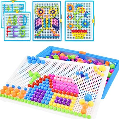 Mosaik Puzzle Spielzeug für Jungen Mädchen Kinder ab 3 Jahre Mosaikstecker Bausteine Blocks Steckmosaik Steckbilder aus Kunststoff Bunte puzzle Steckspielzeug in Kindergarten Puzzlespiel als Geschenk