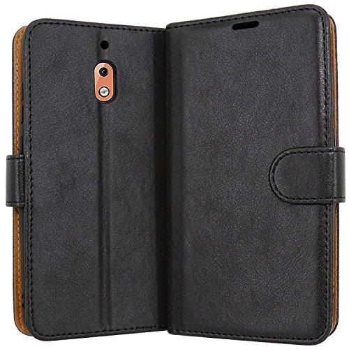 Case Collection Hochwertige Leder hülle für Nokia 2.1 2018 Hülle mit Kreditkarten, Geldfächern & Standfunktion für Nokia 2.1 Hülle