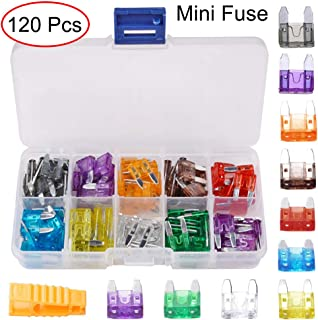 Coriver 120pcs Assorted Set Kit Car Fuses Automotive Replacement Fuse Assortment Kit for Car Auto Truck Motorcycle Caravan Boat Standard Blade Fuse 5A 10A 15A 20A 25A 30A