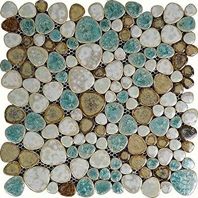 Hominter 11-Sheets Glazed Ceramic Pebble Backsplash Wall Tiles, Bathroom Porcelain Floor Tile - Blue / Cream / Coffee PPT009
