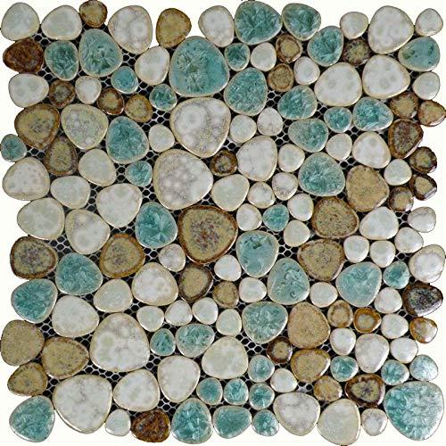 Hominter 11-Sheets Glazed Ceramic Pebble Backsplash...