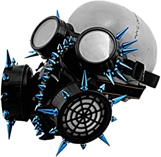 Punk Gothic Blue Spikes Steampunk Gas Mask Goggles Cosplay Props Halloween Costume Accessories Men/Women