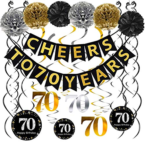 70th Birthday Party Decorations Pack - Cheers to 70 Years Banner,Poms, Sparkling Celebration 70 Hanging Swirls for 70 Years Old Party Supplies 70th Anniversary Decorations