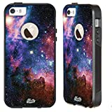 Unnito iPhone 5 Case – Hybrid Commuter Case | Slim Cover with Hard Shell Design and Soft Inner Layer Compatible with iPhone 5S / SE Black Case - Nebula Galaxy