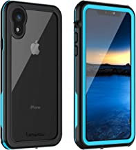 iPhone XR Waterproof Case, Lanwow Waterproof iPhone XR Shockproof Full-Body Rugged Cover Case with Built-in Screen Protector Support Wireless Charging for iPhone XR 6.1 Inch (Black/Blue)