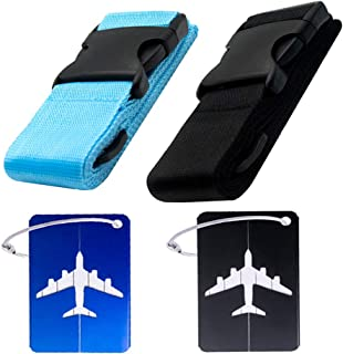 2 pack luggage straps with 2 pack Luggage Tags