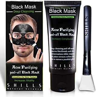 SHILLS Charcoal Black Mask, Peel Off Mask, Charcoal Mask, Black Peel Off Mask, Deep Cleansing, Purifying, Activated Charco...