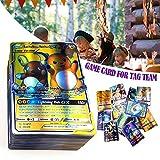 niyin204 120 Tarjetas de Pokemon Holo EX Full Art TCG Estilo Tarjeta Incluye 80 Etiqueta Team Card,20 Mega Card,20 Ultra Beast GX Card, para Colecciones y Juguetes para niños