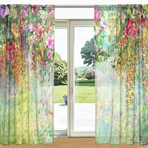 MyDaily Gardine mit Blumenmuster, durchsichtig, 2 Paneele, 139,7 x 19,8 cm, Gardinenstange für Wohnzimmer, Schlafzimmer, Dekoration, Polyester, multi, 55