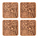 San Diego, CA Map Coaster by O3 Design Studio, Set Of 4, Sapele Wooden Coaster With City Map, Handmade