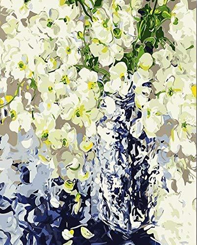 Pintura de bricolaje por números flores pintura al óleo pintada a mano pintura acrílica decoración del hogar regalo único divertido en casa A15 45x60cm