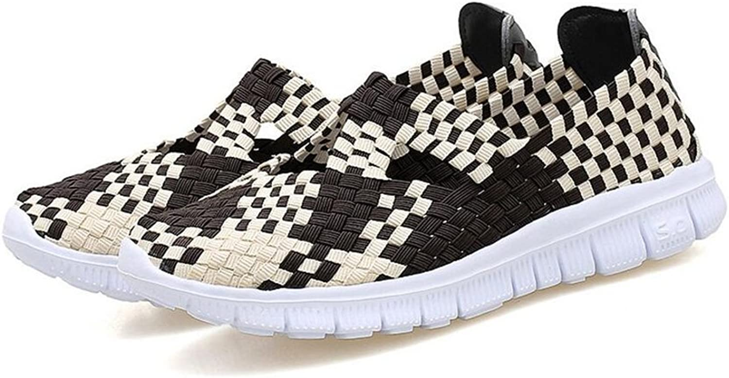 Stay real Women Slip on Walking shoes Woven Elastic Mary Jane Flat Lightweight Fashion Sneakers