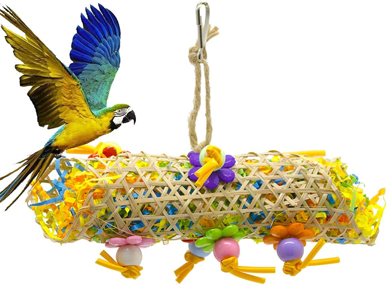 Bird Chew Toy Parred Natural color Paper Bamboo Tube Straw Rope Bamboo Weave Finch African Parred Macaw Cage Toy Bird Cage Decoration Accessories