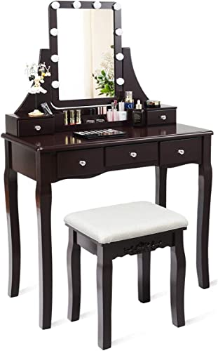 lowest CHARMAID Vanity Set with Lighted Mirror, 10 Dimmable Light Bulbs Vanity Dressing discount Table, 5 Drawer with outlet sale 2 Dividers Removable Organizer, Makeup Table and Cushioned Stool Set with 10 LED Bulbs (Coffee) outlet sale
