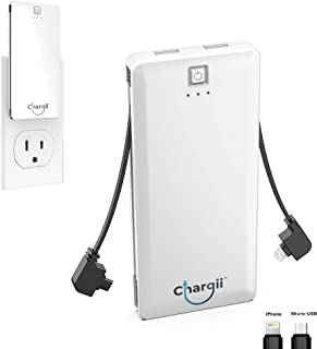 Chargii - Apple Power Bank - All-in-One Portable Charger - Cell Phone Battery Backup - Built-in Wall Plug AC Adapter, Apple & Micro USB Cables - 2 USB Ports - 5000 mAH - White
