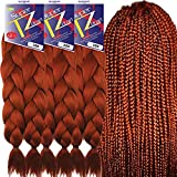 Pre-Stretched Braiding Hair Extensions – 48 Inch Long Unfolded – 6 Bundles Total – Xpression 100% Kanekalon Hair Extensions – TZ Braid Hair Extensions – Pre-Cut and Pre-Combed Synthetic Hair (350)