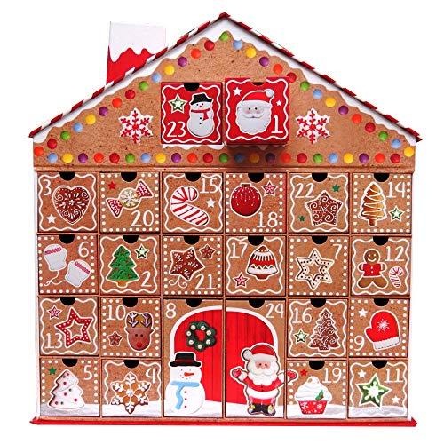 Toyland Großer Adventskalender des Lebkuchen-Haus-3D, mit dem Herausziehen-Datum, Das Kästen hält