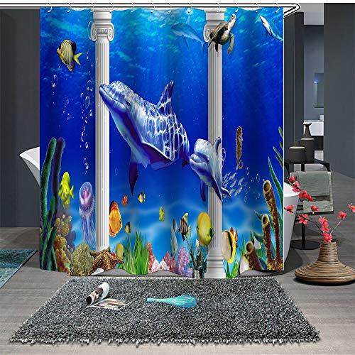 Chickwin Duschvorhang Anti-Schimmel und Wasserdicht, 3D Ozean Blau Delphin Duschvorhang mit 12 Duschvorhangringe für Badezimmer (180x180cm,Aquarium)