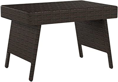 Christopher Knight Home Salem Outdoor Wicker Adjustable Folding Table, Multibrown