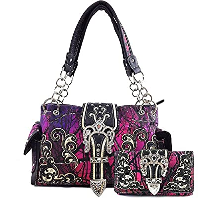 Justin West Embroidery Floral Glittering Bling Rhinestone Buckle Shoulder Concealed Carry Handbag Purse Trifold Wallet (Purple handbag and wallet)