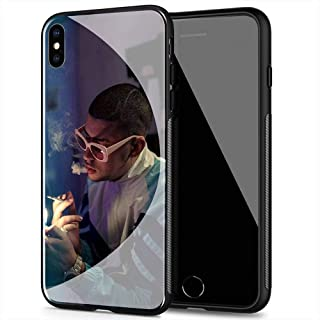 iPhone 8 Plus/7 Plus Case, Soft TPU Frame Protective Anti-Scratch Tempered Glass Back Cover SPM-102 Bad Bunny X100pre