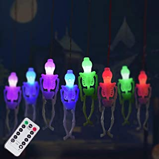 Halloween Skeleton Skull String Lights Battery Operated, Spooky Halloween Decoration Waterproof 15LED String Lights with 8-Lighting Modes for Indoor/Outdoor, Home, Party, Yard Decor (1, Multi)