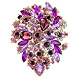 EVER FAITH Women's Austrian Crystal Vintage Style Flower Leaf Cluster Brooch Pendant Purple Gold-Tone