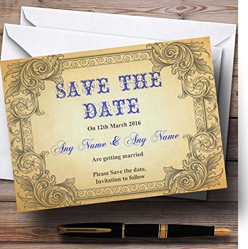 De datumkaarten opslaan Typografie Vintage Blauwe ansichtkaart Gepersonaliseerd met enveloppen - Elke aangepaste tekst voor elke gelegenheid 200 Cards & Envelopes