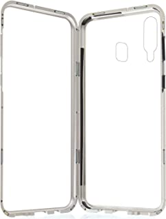Magnetic Case 360 Full Protection for Samsung Galaxy M30 with Metal Frame - Clear Silver