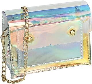 VALICLUD Umhängetasche Holographisch schillernd mit transparenter Handtasche mit Kette für Damen
