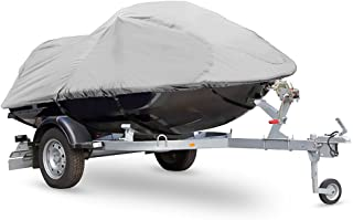 """Pyle Heavy Duty Boat Cover - 127"""" to 138"""" Universal Marine Grade Storage Cover w/ Rear Air Vents, Waterproof Fabric & Elastic Cord - Protection Against Rain, Mildew & UV Damage - PCVJS13"""
