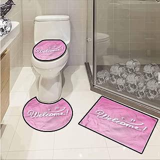 SCOCICI1588 Blush,3 Pieces Soft Bathroom Mat Set Calligraphic Phrase Welcome Shower Bath Rug,Contour Mat and Lid Cover,Multicolor