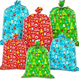 """6 Pack Giant Christmas Gift Bags - Xmas Jumbo Presents Bags 49X35.5' and 36.5X34.5"""" with Gift Tag..."""