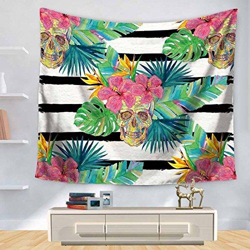KHKJ Tapiz de Hojas Verdes Tapiz Colgante de Pared Planta Tropical Impreso tapices Hippie psicodélicos decoración del hogar Manta de mantón A8 150x130cm