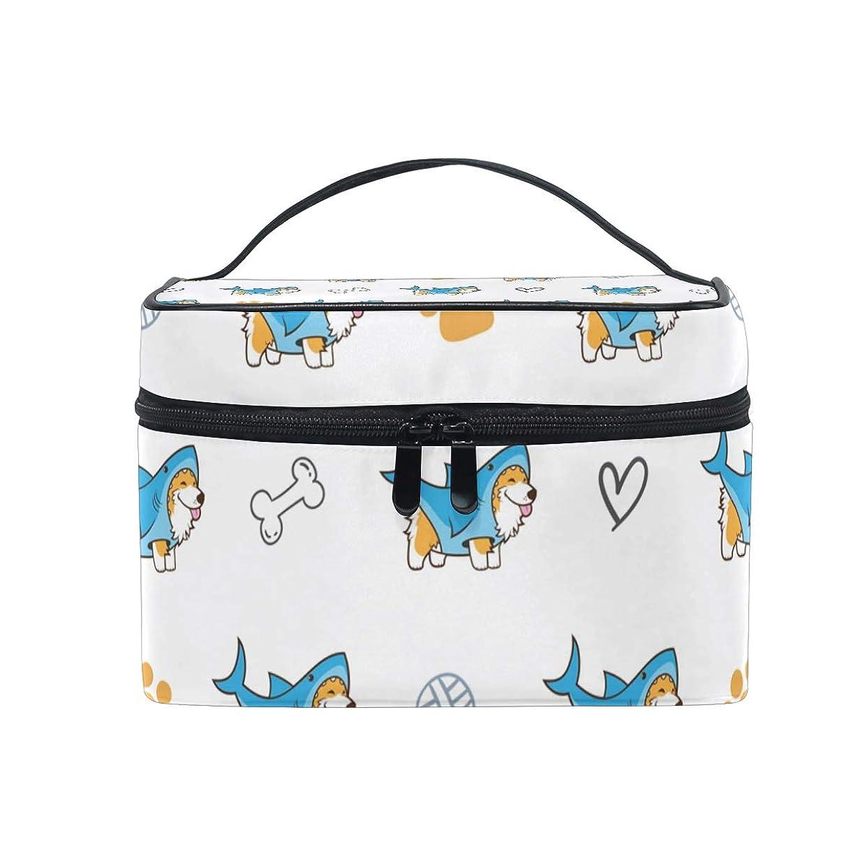 ポーンハグ非アクティブメイクボックス 子犬コーギー犬柄 化粧ポーチ 化粧品 化粧道具 小物入れ メイクブラシバッグ 大容量 旅行用 収納ケース