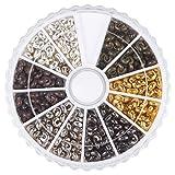 PandaHall Elite 1 Caja de 6 Colores Plancha chafas Cubre, Antiguos de Bronce y Cobre Rojo & Negro & Plata y Oro y Platino, cadmio & Libre de Plomo y niquel