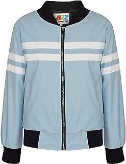 Kids Boys Girls Jacket Contrast Striped Blue PU Bomber Varsity School Biker Coat