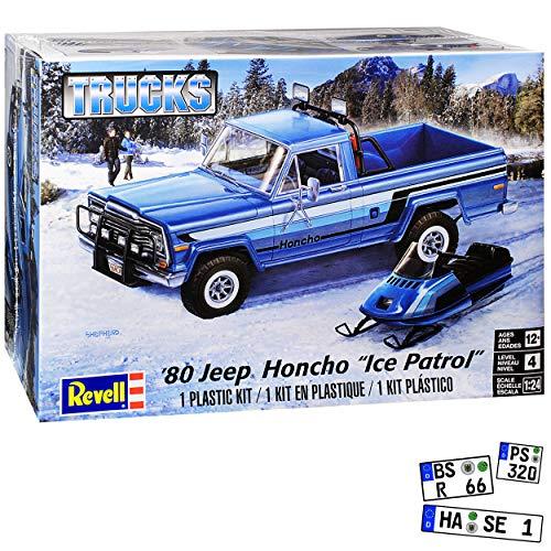 Jeep Honcho Pick-up mit Schneemobile 1976-1983 Bausatz Kit 1/24 1/25 Revell Monogram Modell Auto mit individiuellem Wunschkennzeichen