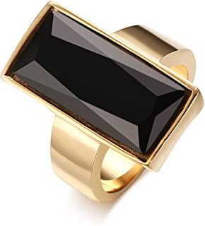 HUANIAN Stainless Steel Gold Plated Rectangular Black Glass Crystal Ring for Women
