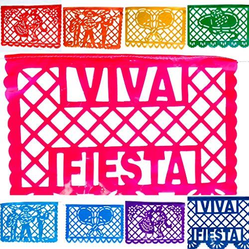 TexMex Fun Stuff Viva Mexico! Fiesta Papel Picado Banner 2 Pack- Plastic (33 Feet) Medium Size Rainbow Party Streamers