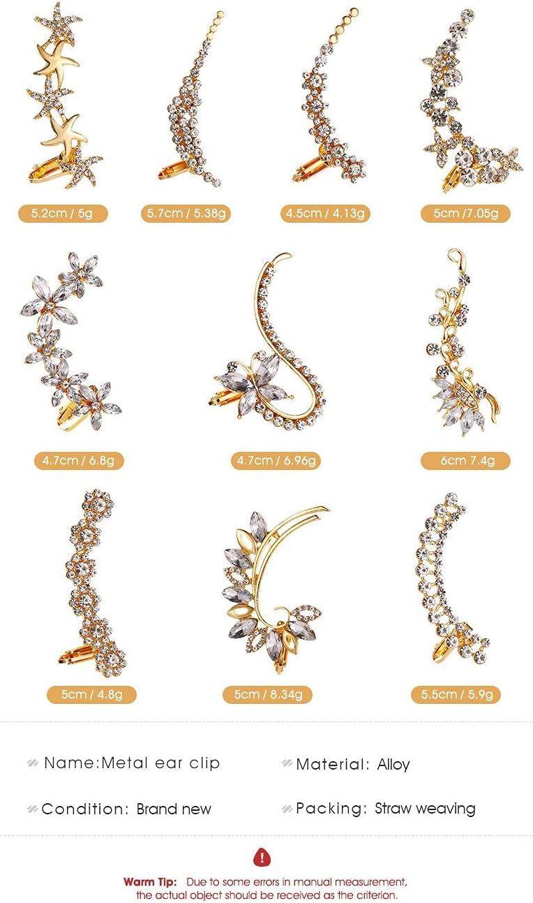 2020 Elegant Vintage Punk Gothic Crystal Rhinestone Ear Cuff Wrap Stud Clip Earrings