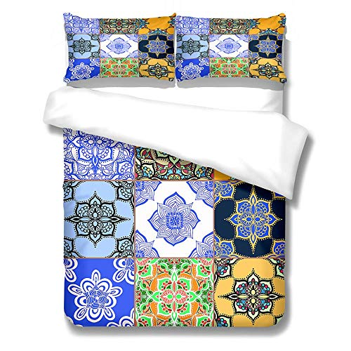 Duvet Cover Set with 2 Pillowcases Ultra Soft Microfiber Bedding Quilt Cover Sets Adults Teenagers - Printing(King 230X220Cm)