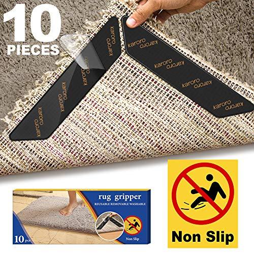Antirutschmatte für Teppich, 10 Stück Teppichgreifer Antirutschmatte Waschbar Teppich Ecke Rutschfest Teppichstopper wiederverwendbar Rutschschutz für Teppich